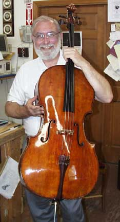 Marc Johnson with his restored Francesco Stradivari cello